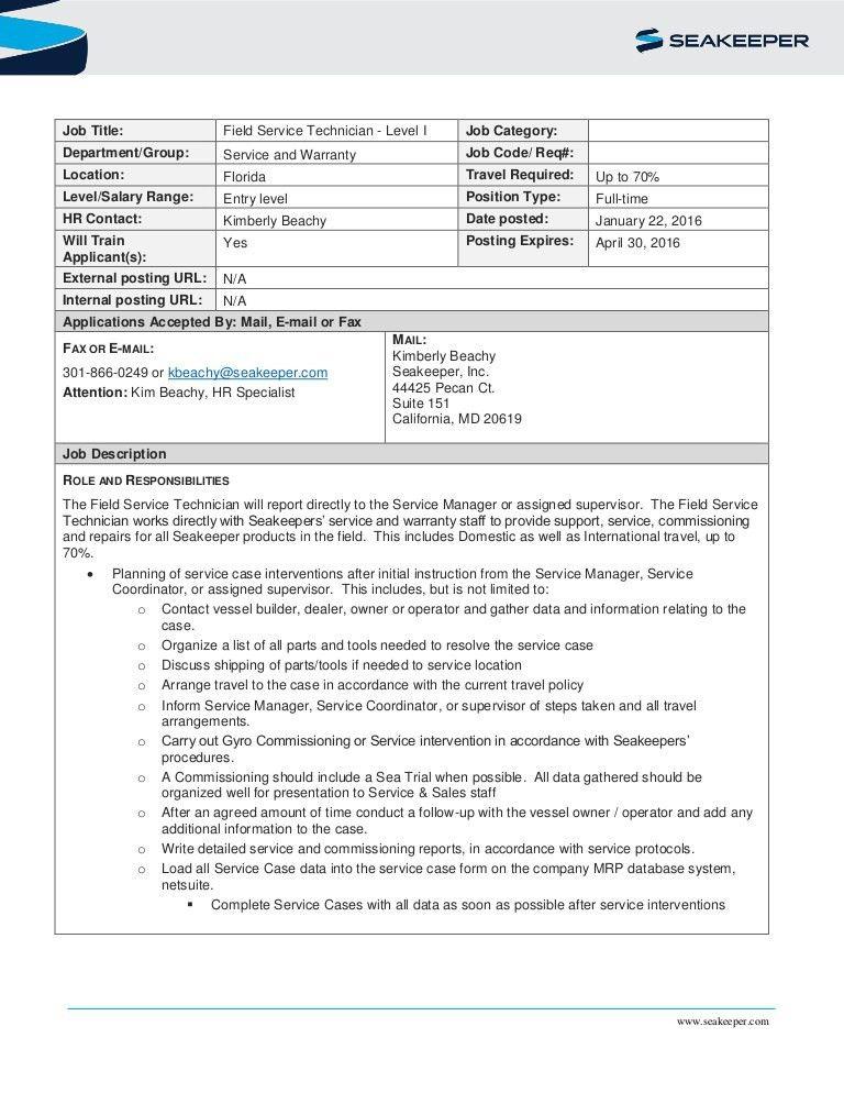 Job description -Level 1_ Field Service Technician FL