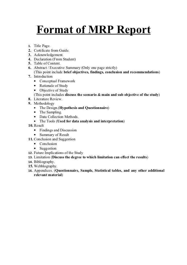 Format of mrp report