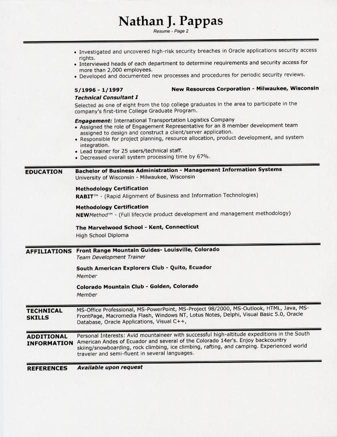 resume template examples of one page resumes 2 sample free format - Sample One Page Resume