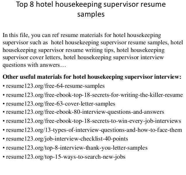 Shining Inspiration Housekeeping Supervisor Resume 8 Top Hotel ...