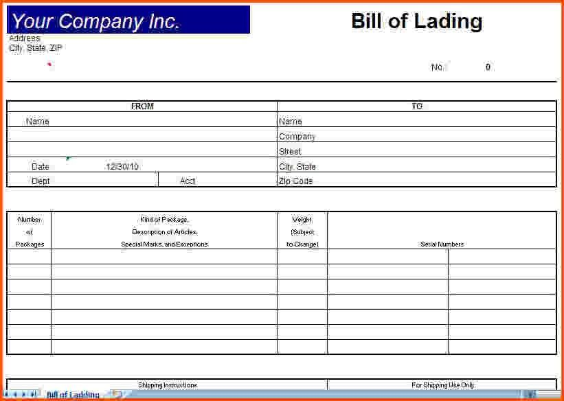 6+ bill of lading template   Survey Template Words