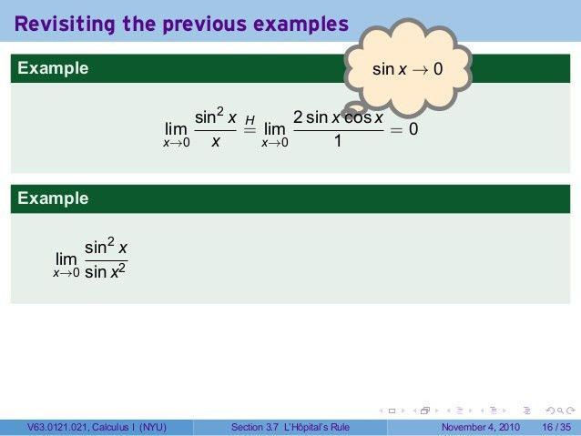 Lesson 17: Indeterminate Forms and L'Hopital's Rule (Section 021 slid…