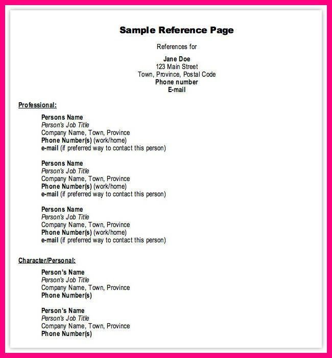 11 Sample Format For References On Resume