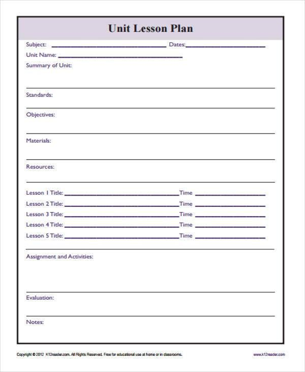 7+ Lesson Plan Template - Free Sample, Example, Format Download