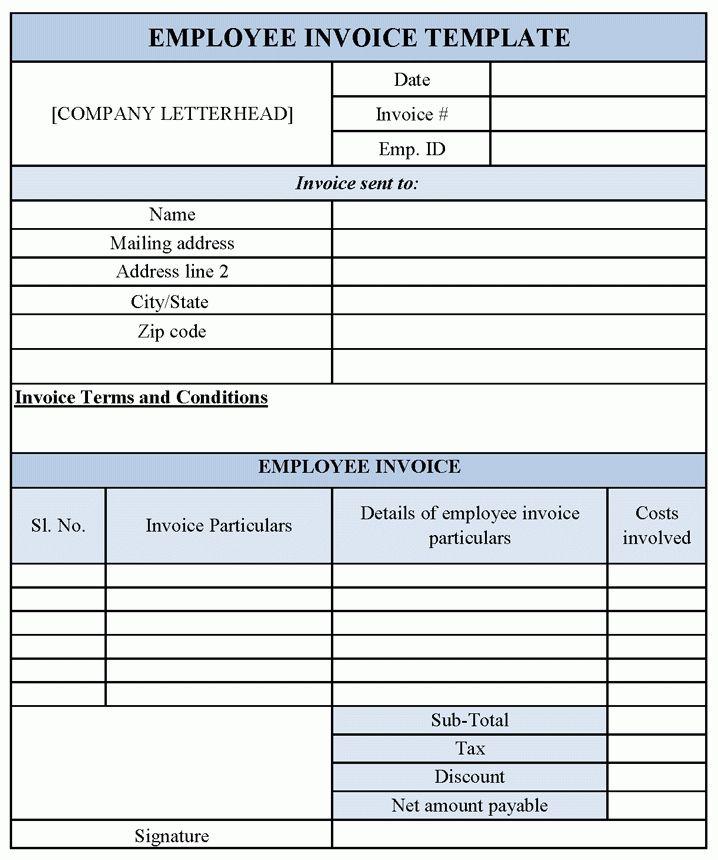 Employee Invoice Template | Sample Templates