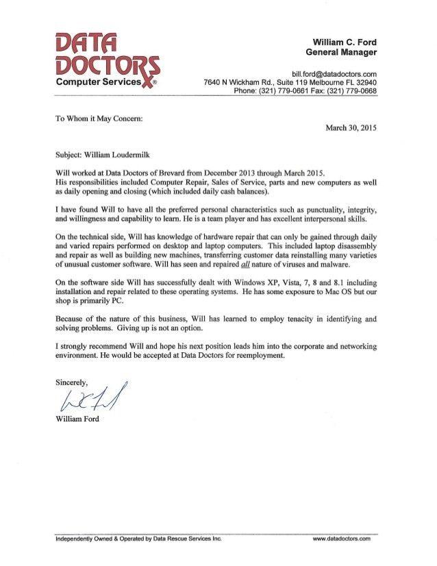 Doctors recommendation letter