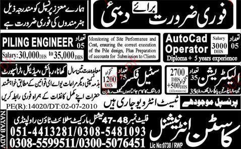 Auto Cad Operator, Piling Engineer and Steel Fixer Vacancy 2017 ...