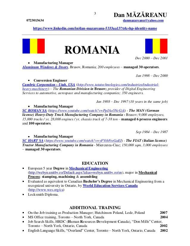 CV - Dan MAZAREANU - Engineering - Technical Sales - Industrial Marke…