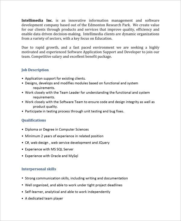 Sample Software Developer Job Description - 9+ Examples in PDF