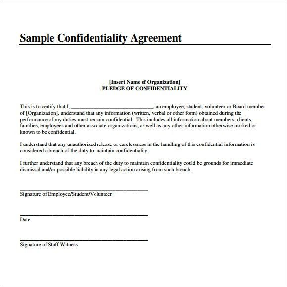 Free Nda Forms Confidentiality Agreement Non Disclosure Agreement – Employee Confidentiality Agreement