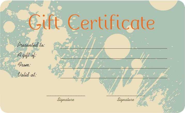 Splash Art Gift Certificate Template - Get Certificate Templates