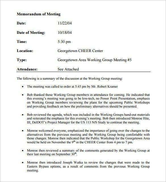 Meeting Memo Template. Sample Notice Of Meeting Memo Free ...