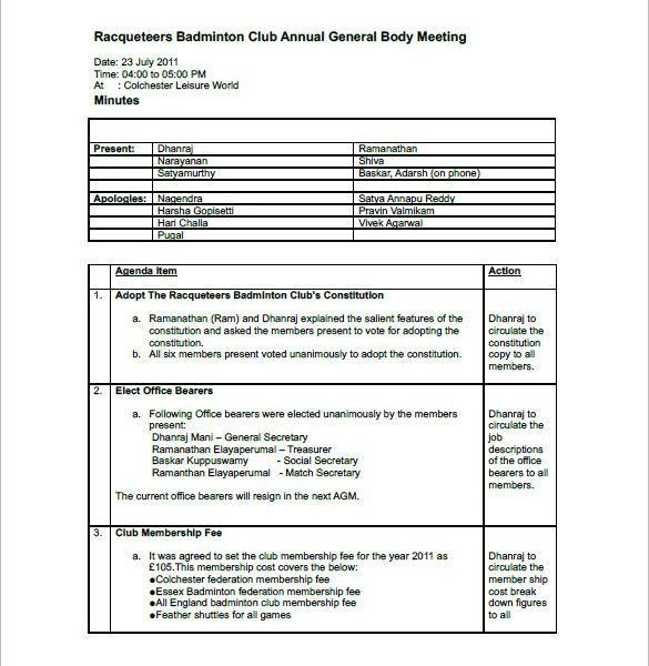 Club Meeting Minutes Template. how to format corporate meeting ...