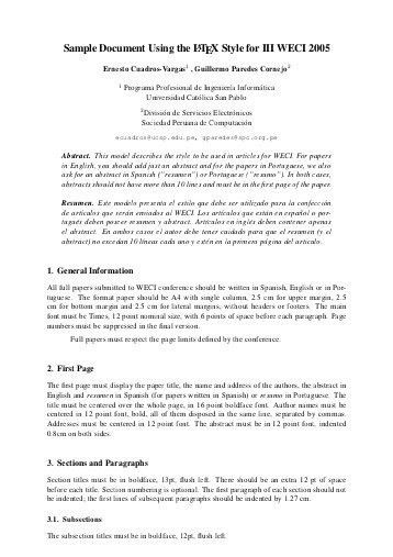 Sample abstract page for research paper