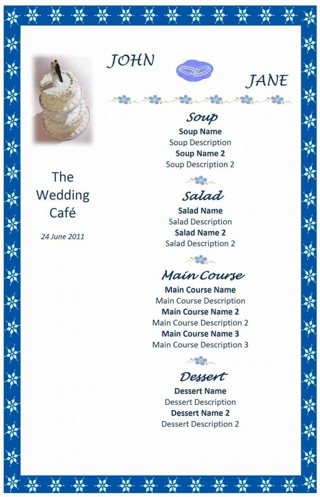 28+ [ Menu Template Wedding ] | Gallery For Gt Wedding Menu ...