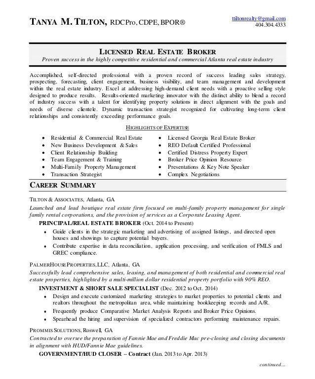 real estate broker resume