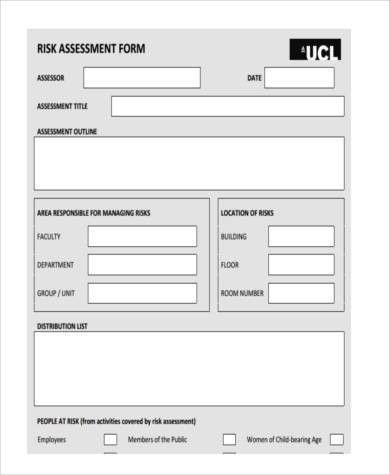 8+ Risk Assessment Form Samples   Free Sample, Example Format Download