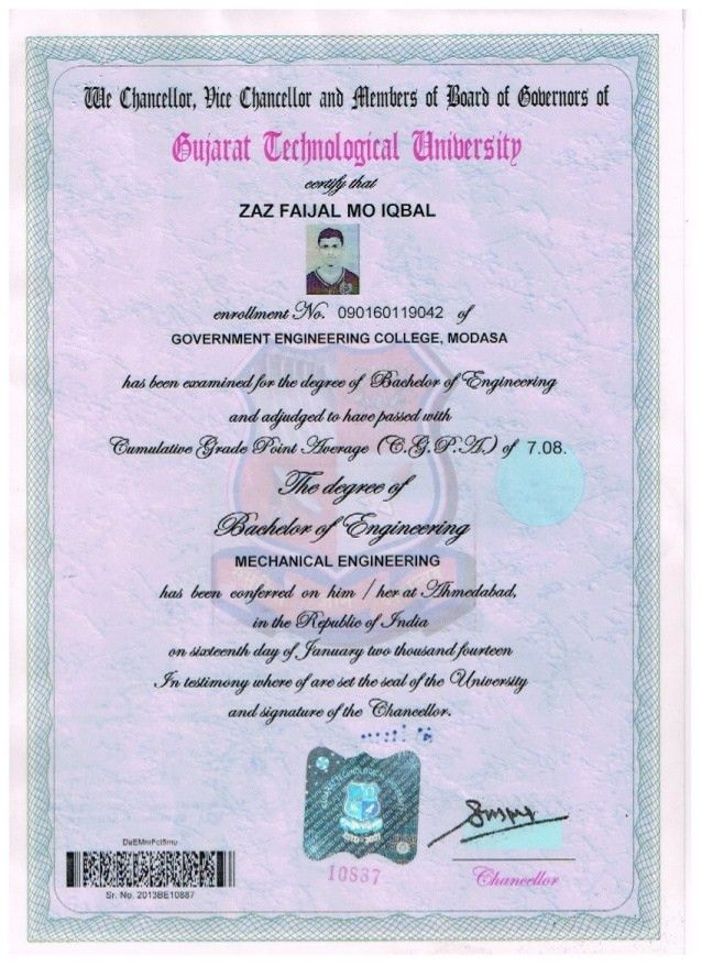 MECHANICAL DEGREE ATTESTED CERTIFICATE
