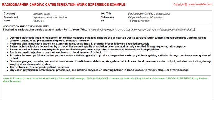 Radiographer Cardiac Catheterization CV Work Experience Samples
