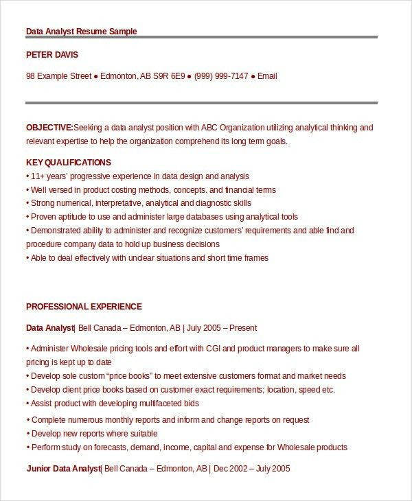 Data Analyst Resume Example - 9+ Free Word, PDF Documents Download ...