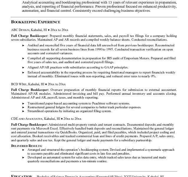 Cool Design Ideas Bookkeeping Resume 8 Bookkeeping Resume Samples ...