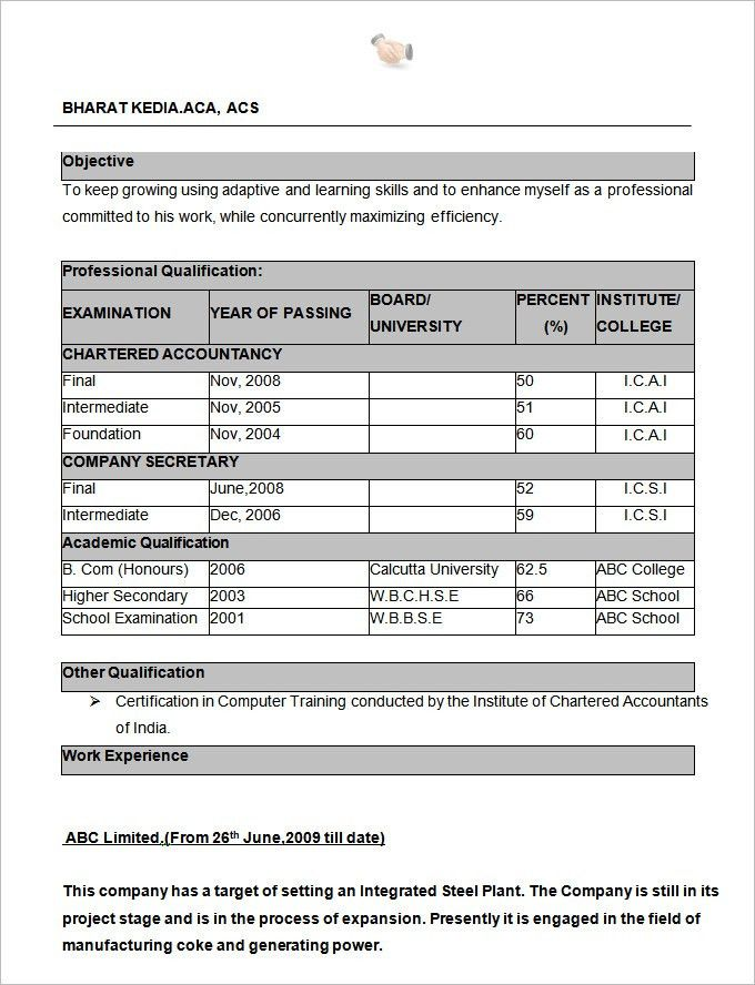 B Com Fresher Resume Format Download - Contegri.com