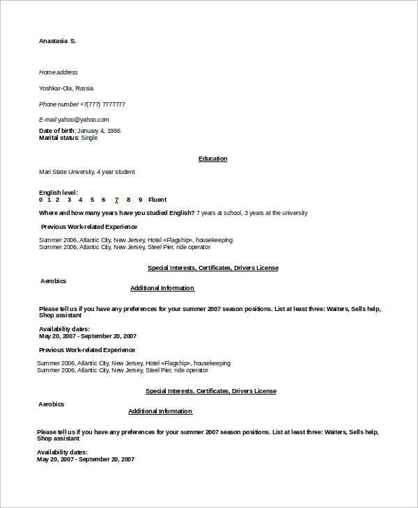 Sample Housekeeping Resume - 7+ Examples in Word, PDF