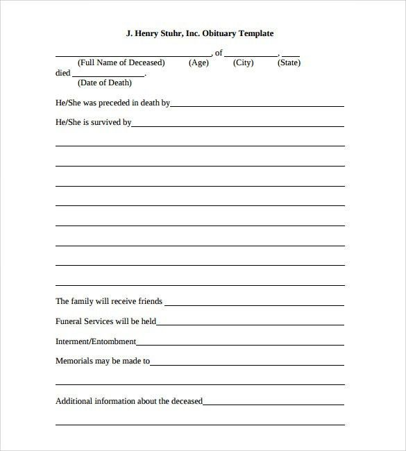 Death Obituary Template. Obituary Template For Funeral In ...