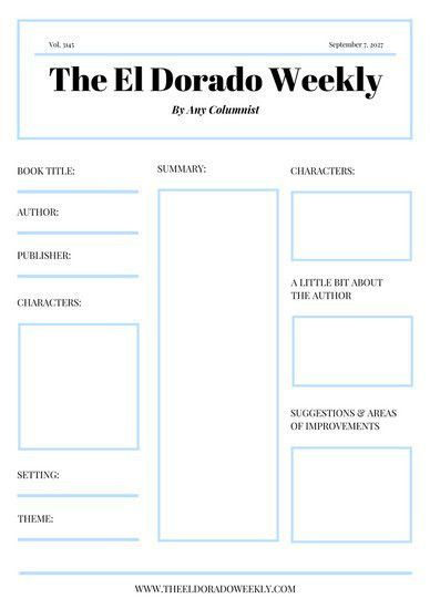 Blue White Simple Newspaper Book Report - Templates by Canva
