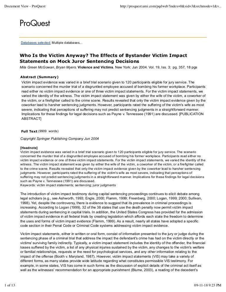 Victim Impact Statement 2004