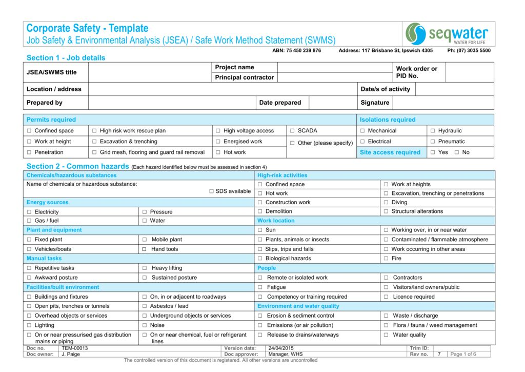 Corporate Safety - Job Safety and Environment Analysis