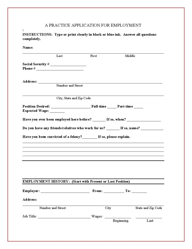 A Practice Application for Employment Free Download