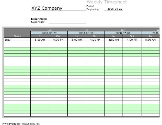 Weekly Multiple-Employee Timesheet, 1 work period Printable Time ...