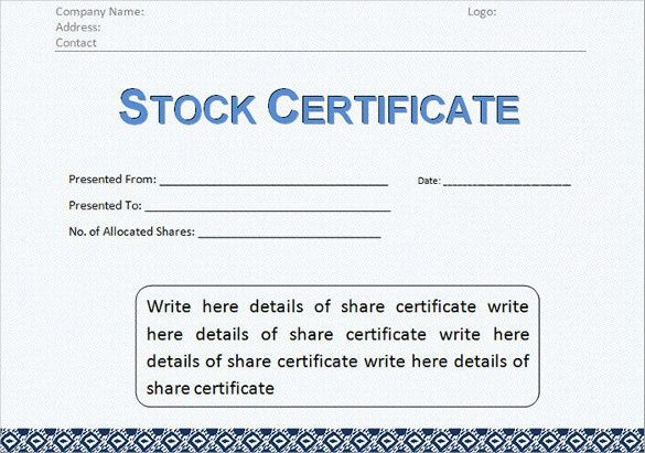 Free Share Certificate Template | Enwurf.csat.co