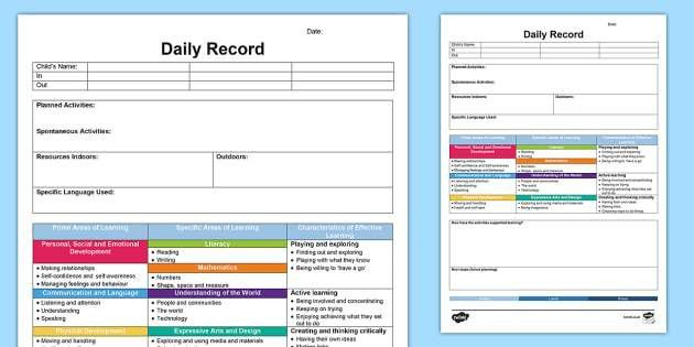 EYFS Daily Diary - Retrospective Planning Template - planning