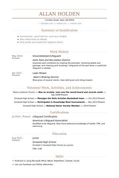 Groundskeeper Resume samples - VisualCV resume samples database