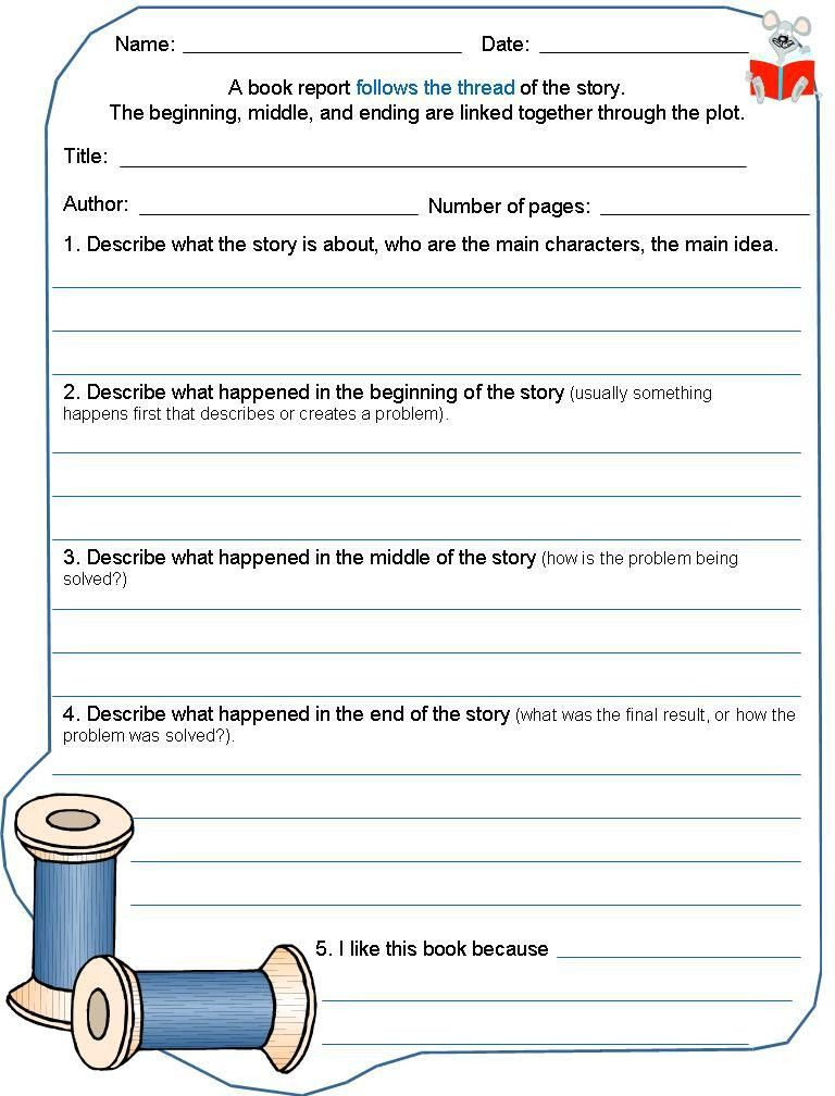 Coaching our kids with Aspergers: Book Report template - fiction ...