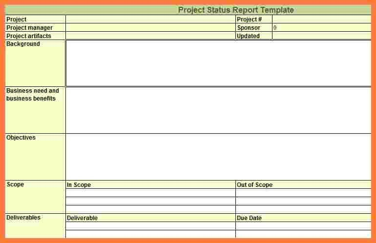 Project status report template in excel – Progress Status Report Template