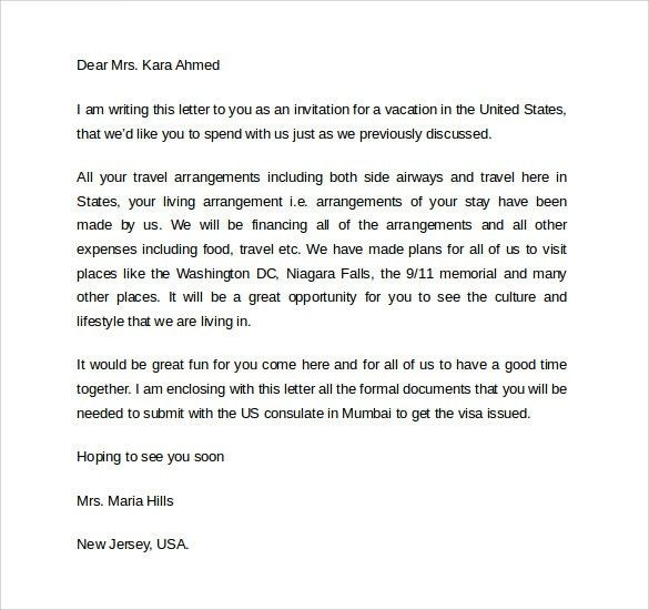 Invitation Letter For Us Visa. Business Invitation Letter Template ...
