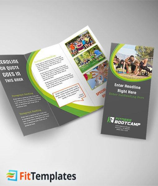 Fitness Bootcamp Tri fold Brochure Template