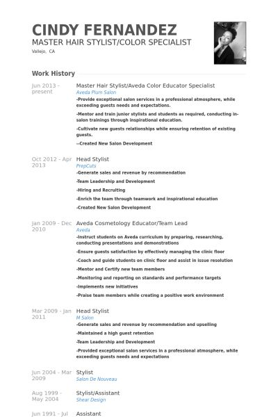 Master Hair Stylist and Color Specialist Resume Sample with ...