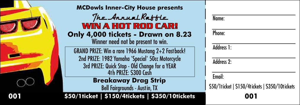 Car Raffle Ticket Color