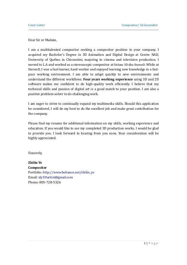 Maya Animator Cover Letter