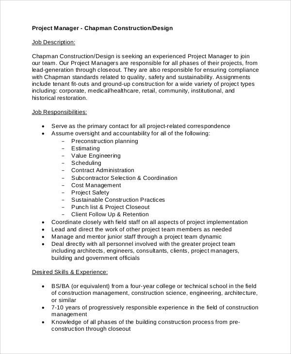 Sample Construction Project Manager Job Description - 8+ Examples ...