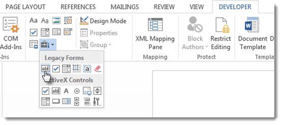 Adding Form Fields to a MS Word Document - SmartWiki