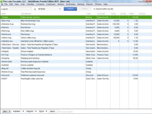 Your Item List in QuickBooks 2013 - dummies