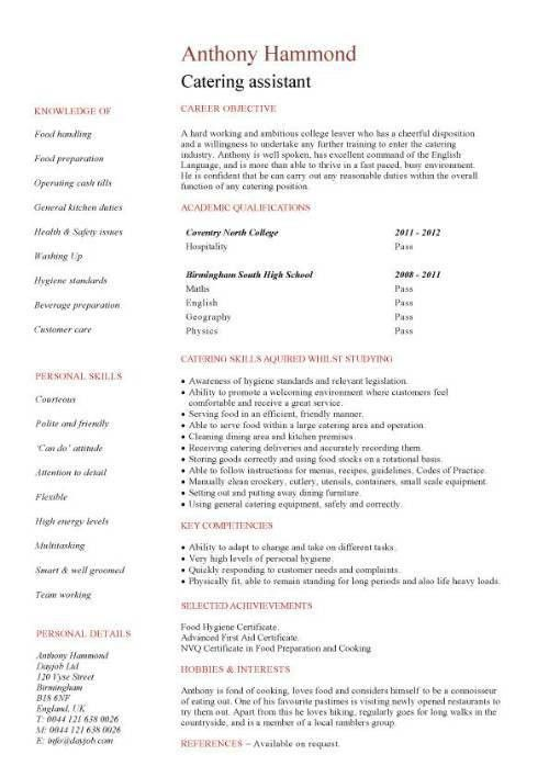Catering manager CV template, food preparation, job description ...