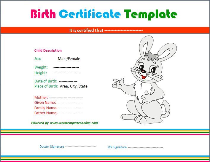 Baby Birth Certificate Template | Certificate Templates ...