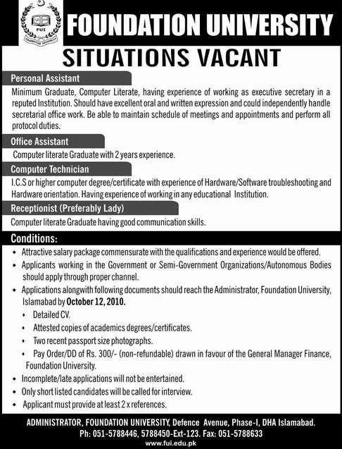 Jobs, Pakistan Foundation University jobs Personal Assistant ...