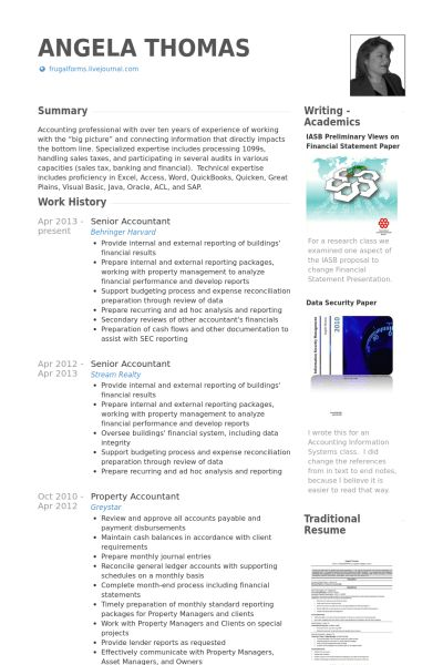 Senior Accountant Resume samples - VisualCV resume samples database